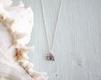 Silver Indian Elephant Necklace - Adventure Jewellery - Lucky Tiny Elephant - Animal Necklace - Elephant Jewellery - Festival Necklace