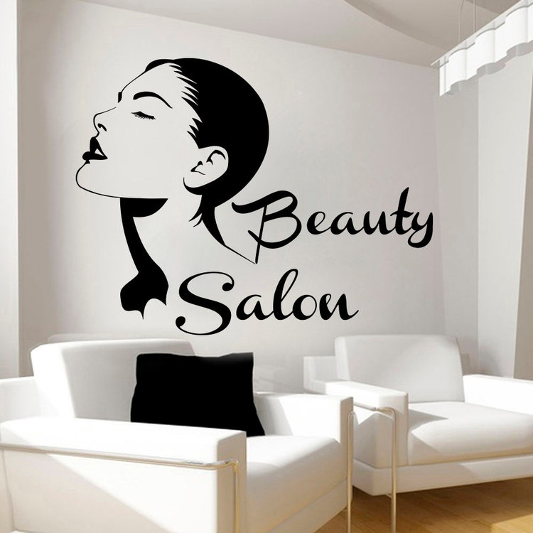 Wall decals beauty salon decal vinyl sticker girl by cozydecal for Stickers salon