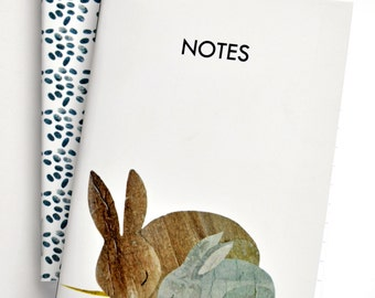 """Bunny Pocket Notebook Set, set of 2, 3.5"""" x 5"""", 48 lined pages, journal, jotter, gift"""