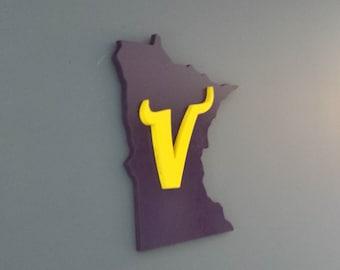 3D Minnesota Vikings Sign / Plaque, Vikings Sign / Plaque, Wall Art