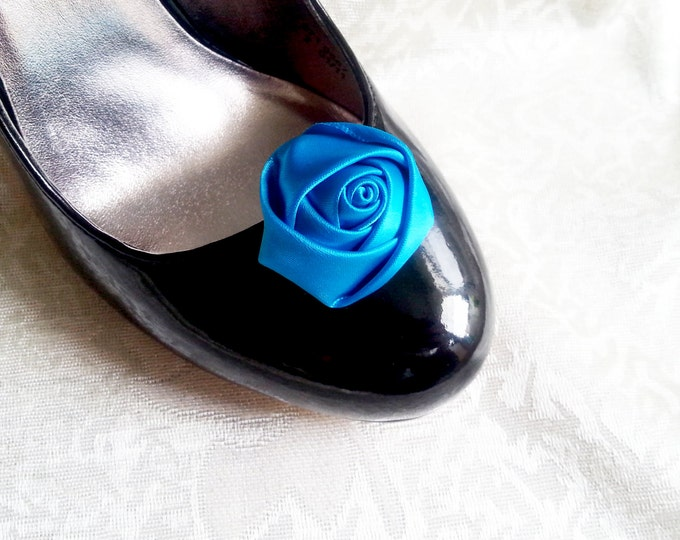 Handmade rose satin shoes clips in teal turquoise wedding prom