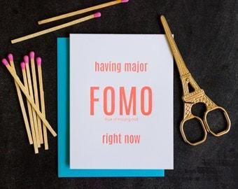 FOMO. Funny Letterpress Card
