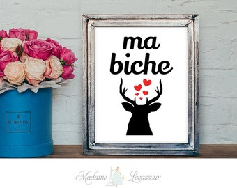printable art ma biche valentine French love art prints romantic art prints deer printable art love DIY art print wall art prints home decor