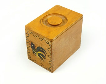 Wooden Box From Japan Dovetail Joint Lid Hand-Painted Design Woodpecker Woodware Vintage Primitive Storage Old Rooster Small Size