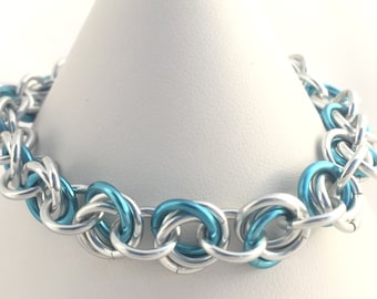 Mobius Chainmaille Bracelet - Ice Blue and Silver Anodised Aluminium