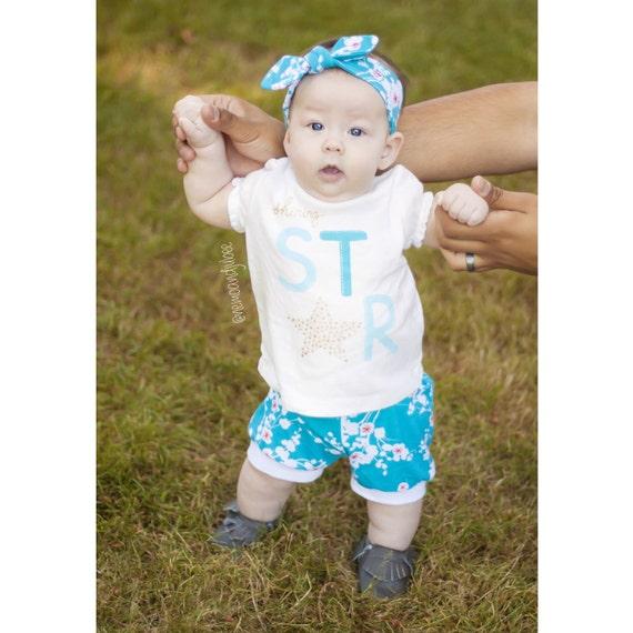 SALE Baby Shorts Toddler Shorts Floral Shorts Teal Shorts Girl Shorts Baby Leggings Japanese Cherry Blossom Shorts Shorties Cuff Shorts