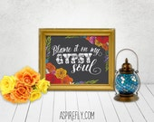 Printable quotes eclectic home decor - blame it on my gypsy soul - bohemian decor printable wall art floral print word art boho decor