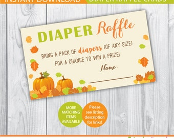 Pumpkin diaper raffle ticket / Fall diaper raffle / printable diaper raffle / baby shower diaper raffle ticket / baby shower games / autumn