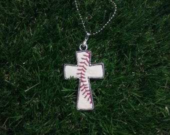 Baseball Cross Necklace- Vertical Stitches