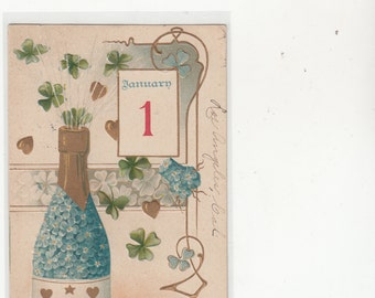 January 1 Calendar New Year Lots Of Gold, Blue Flowers,Champagne Antique Postcard