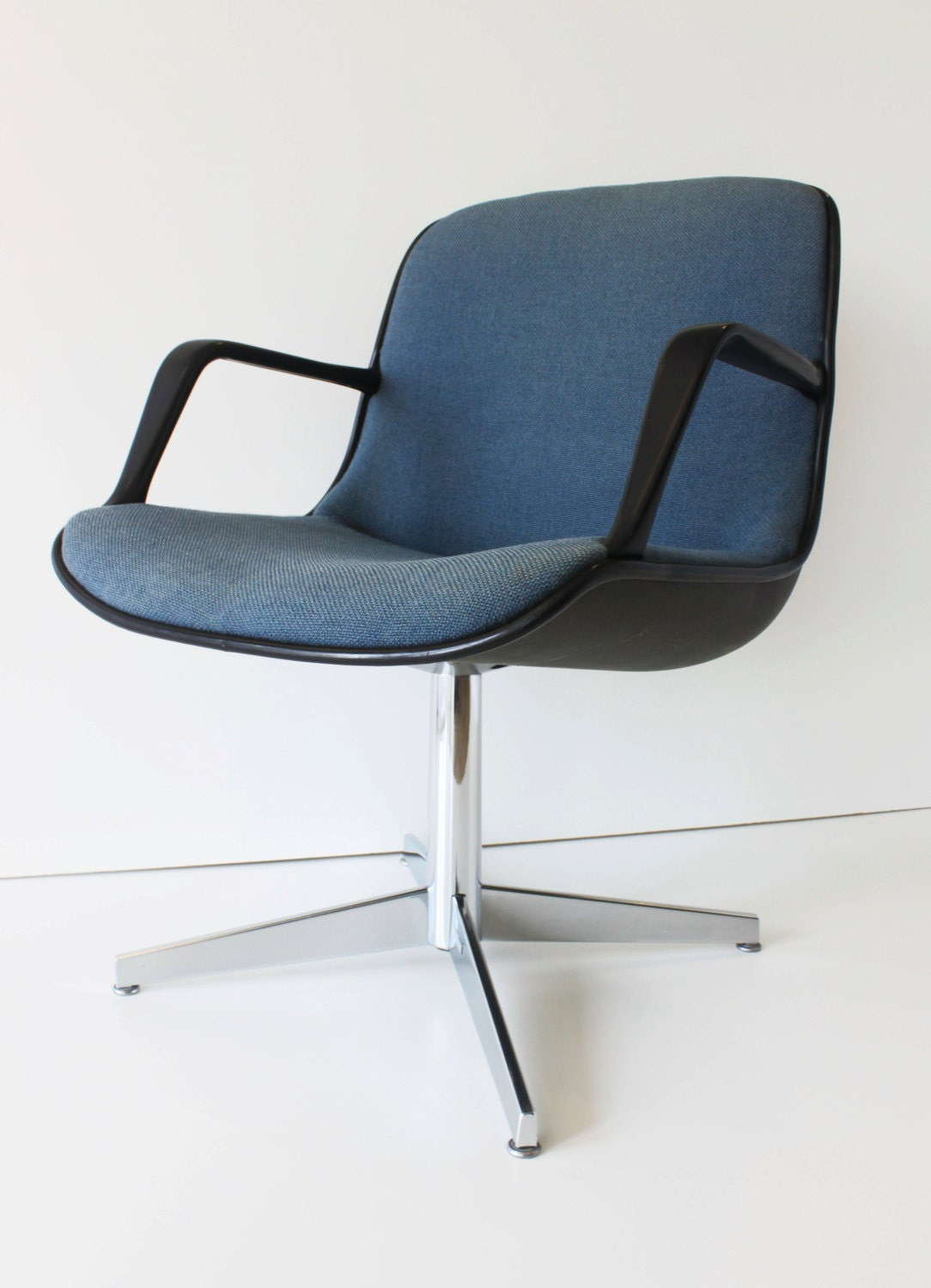 vintage blue steelcase armed shell office chair pollack by
