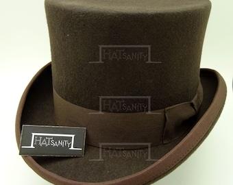VINTAGE Wool Felt Formal Tuxedo Topper Top Hat - Brown