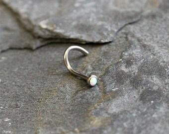 White Opal Nose Ring, 18G Titanium (6AL-4V-ELI) White Opal Nose screw Stud, Nose Piercing