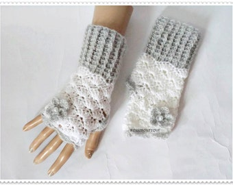 Crochet fingerless gloves Crochet mittens Fingerless glove White gray gloves Crochet fingerless gloves Wist warmers