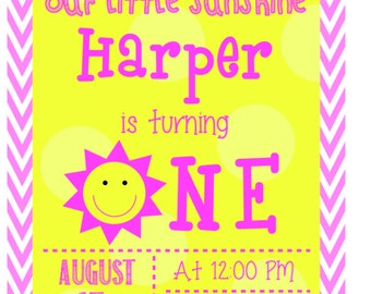 Our Little Sunshine First Birthday Invitation