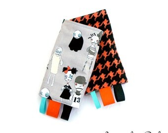 Zombies Reversible Drool Pads, Teething Pads, Strap Covers, Baby Wearing, Baby Carrier, Zombie Kinderpack Strap Cover, Orange Houndstooth