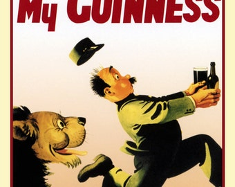 Vintage Guinness Poster, My Goodness, My Guinness, Zoo Keeper, Lion Chase
