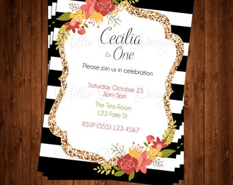 SALE 50% OFF Custom Black, White and Gold Floral Invitation - Bridal Shower - Baby Shower - Retirement - Birthday Party