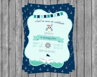 SALE 50% OFF Custom Boy's Nautical Owl Invitation - Baby Shower - Birthday Party
