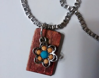 "handmade necklace, ooak, ""Retro Flower"" gypsy, floral, hippie, boho"