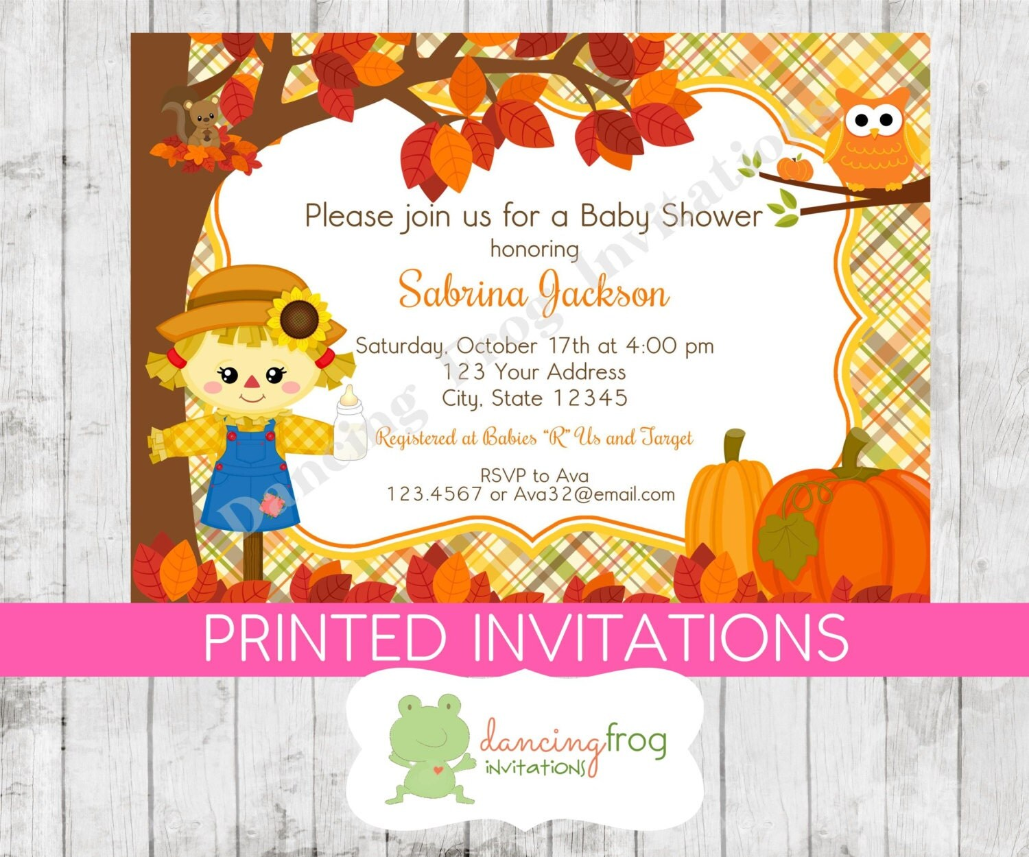 fall scarecrow baby shower invitation girl by dancingfroginvites