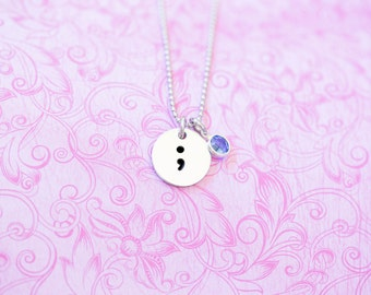 Inspirational Semicolon Project Necklace - Semicolon Pendant - My Story Isn't Over Yet ; - Semicolon Project - Engraved - Custom Engraving