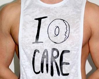 Marek+Richard Eat Me Low Armhole Tank-I Donut Care- White