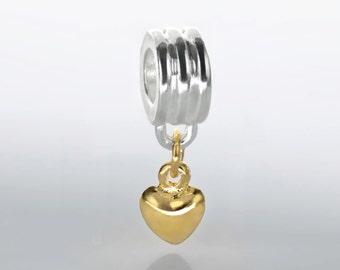 Gold Dangling Heart Charm European Bead Fits European Charm Bracelets #V-006