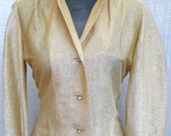 Nelly de Grab 1950s GOLD METALLIC Top With Rhinestone Buttons