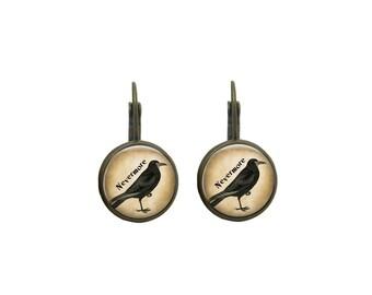Raven Earrings Black Bird Earrings Raven Nevermore Earrings Black Bird Earrings Raven Bird Jewelry Halloween Raven Bird Earrings Dangles