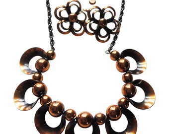 Copper Necklace and Earrings Vintage 1950 Rebajes