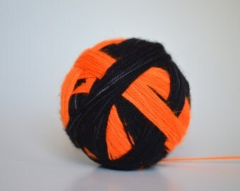 """Dyed to Order: """"This is Halloween (self-striping)"""" - Black and Neon Orange stripes"""