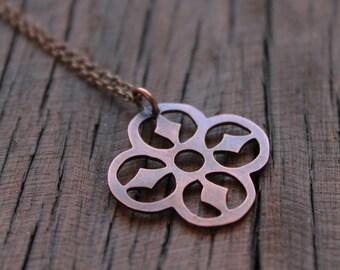 Quarterfoil Necklace, Celtic Inspired Antiqued Copper Pendant, Boho Style Necklace,Antique Copper Pendant, Irish style Jewelry, Floral