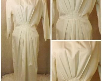 Full Length White Pleated Evening Dress Size 14 Katie Mfg