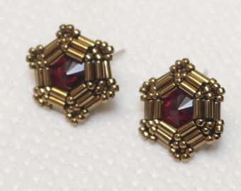 Metallic Bronze Earrings, Red Stud Earrings, Hexagonal Earrings, Modern Earrings, Minimalist, Brown, Vintage, Anniversary Gift, Gift for Her