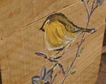 Hand painted- Single Bird on Branch Pallet Art - 19x3- Wood Sign - UK