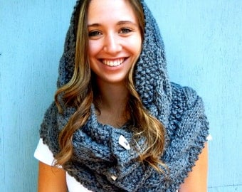 Hooded Cowl with Buttons, Hooded Scarf, Knitted Snood, Oversized Cowl Neck Warmer in Dark Grey