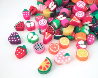 Assorted Polymer Clay Fruit Slice Beads, Cute Slices For Decoden, #399b