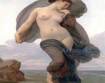 "William Bouquereau ""Evening Mood"" 1882 Reproduction Digital Print Beautiful Woman Standing in the Sea Ocean"