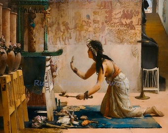"""John R. Weguelin """"The Obsequies of an Egyptian Cat"""" 1886 Reproduction Digital Print Priestess Offers Gifts to the Spirit of the Cat"""