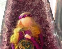 Mother earth goddess, waldorf style doll, needle felt doll, boho style doll, felting doll, fairy, spiral, celtic goddess,