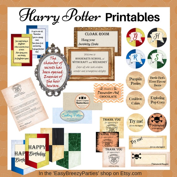 HARRY POTTER Digital Party Printable Pack Invitation - Birthday invitations harry potter printable