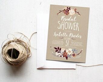 Fall Bridal Shower Invitation Printable, Autumn Floral Invite, Boho Chic, Rustic Bronze, Silver, Cream, Neutral Colors, Kraft Paper