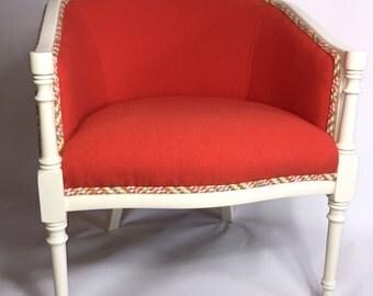 Vintage upholstered barrel accent chair