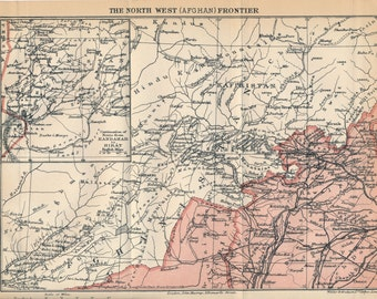 1909 Afghanistan North West Frontier Antique Map