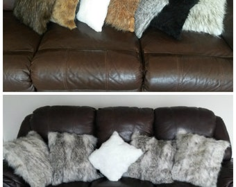 Plush Faux Fur Pillow/  Square or Lumbar Pillow / Throw Pillow stuffed many Colors and Sizes