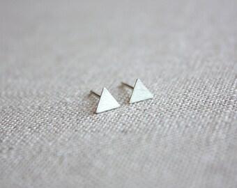 Triangle Sterling Silver Small Stud Earrings, Silver Triangle Earrings, Triangle Studs, Geometric Post Earrings, Minimalist Earrings