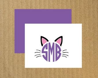 Cat Monogram Note Cards, Set of 10, Cat Monogram Cards, Cat