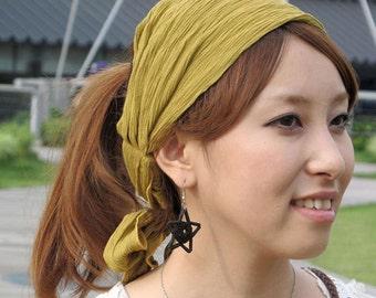 Boho Headband Bandana Headscarf Wrap Hippie Japanese Design Fashion Women's Elastic Light Hair Accessory Women Spring Summer ha-rsh