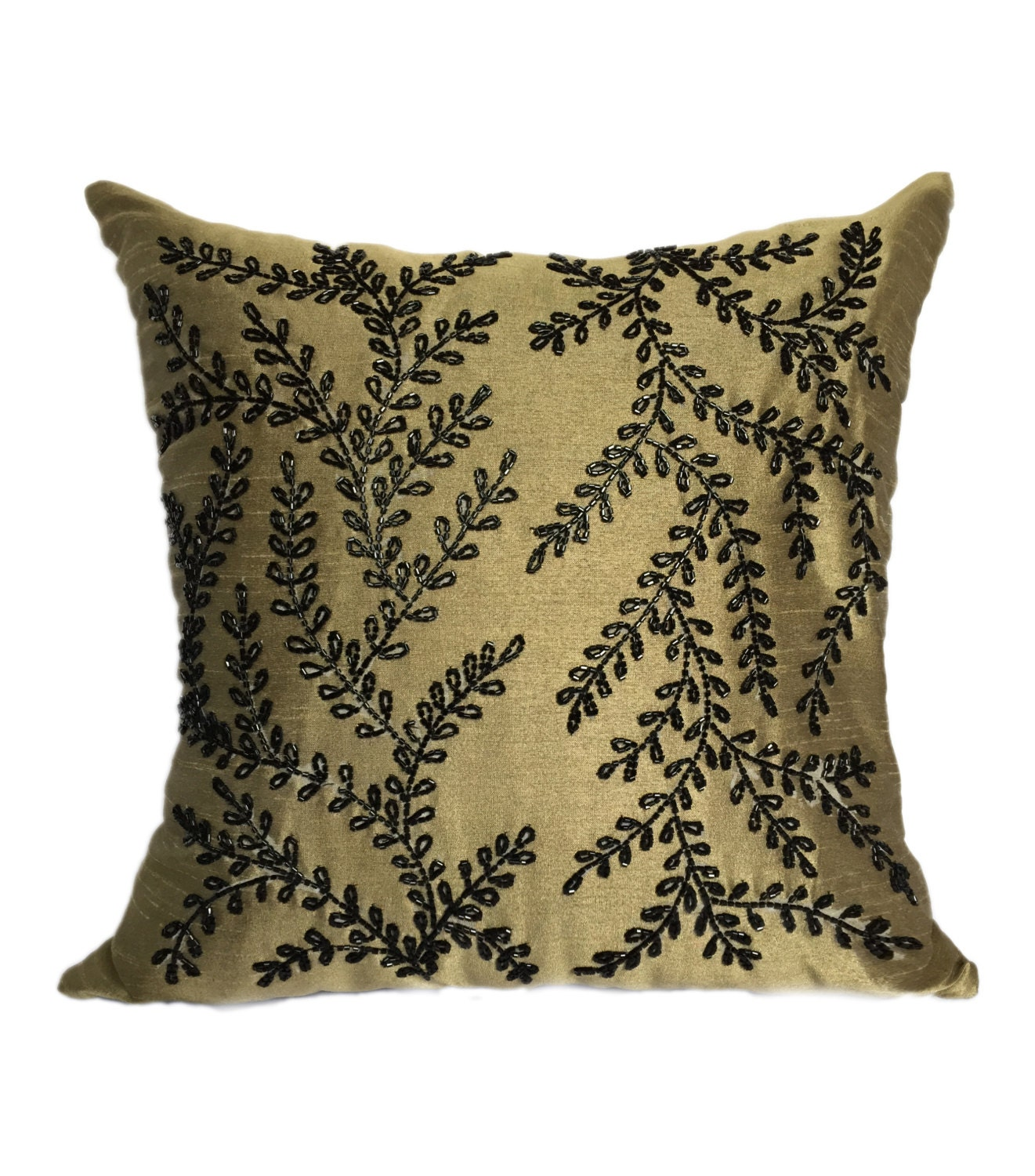 Black Beaded Throw Pillow : Olive Green Black Vines Pillow Cover Olive Green Black Beaded